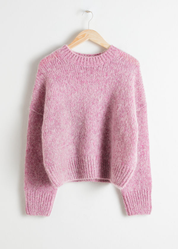 Front image of Stories boxy wool blend sweater in pink