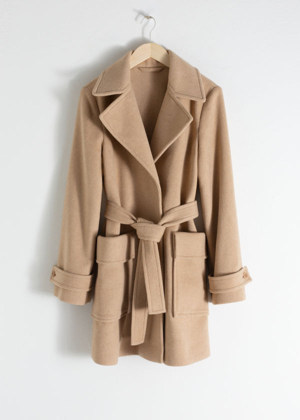 Belted Wool Blend Coat