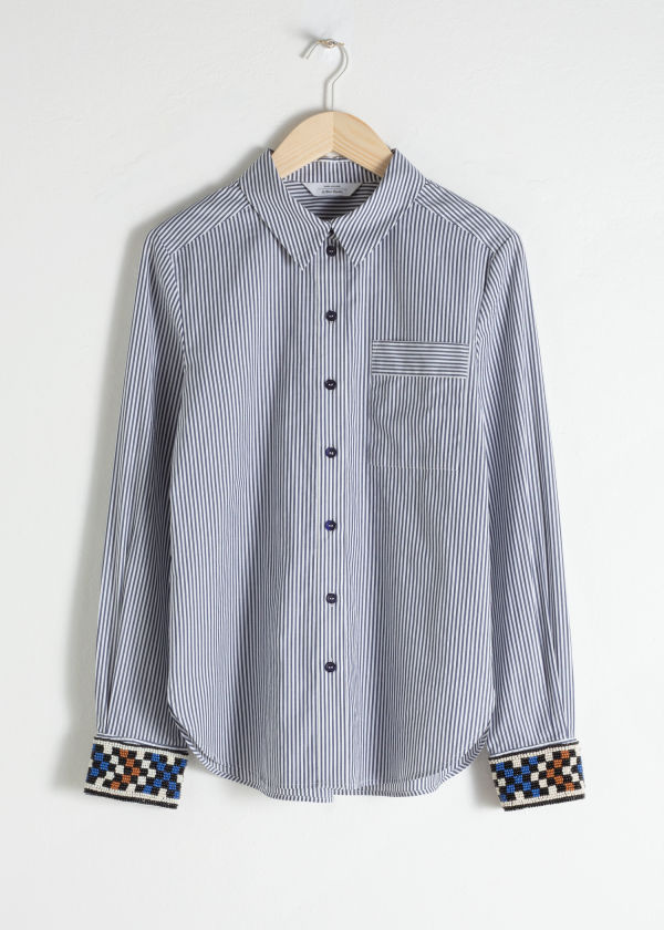 Beaded Pinstripe Button Up Shirt