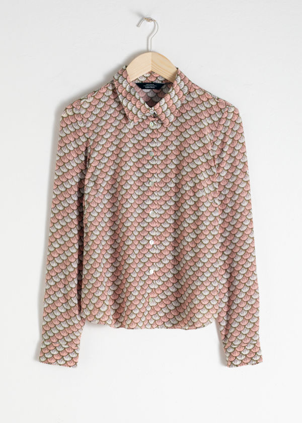 Fan Print Button Up Shirt