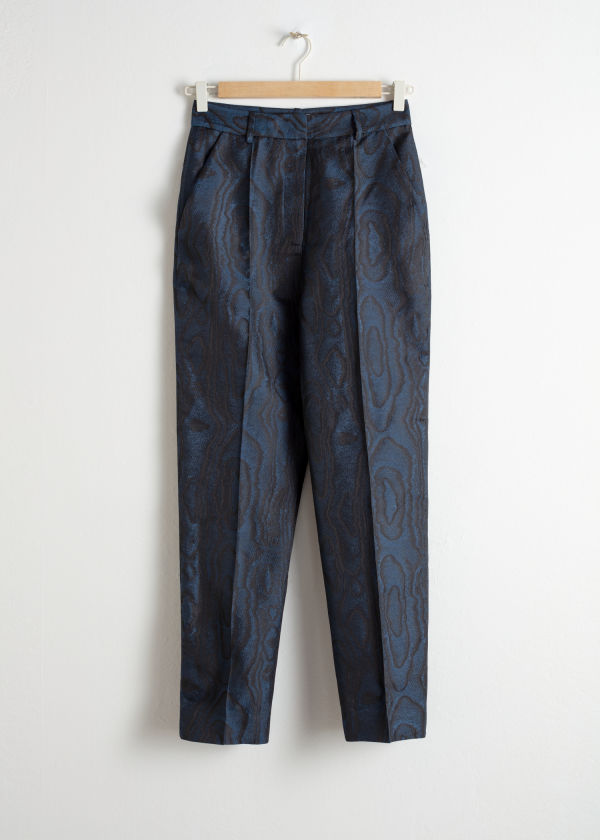 Wood Jacquard Kick Flare Trousers