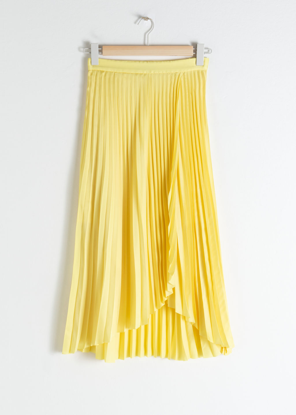 Front image of Stories pleated wrap midi skirt in yellow