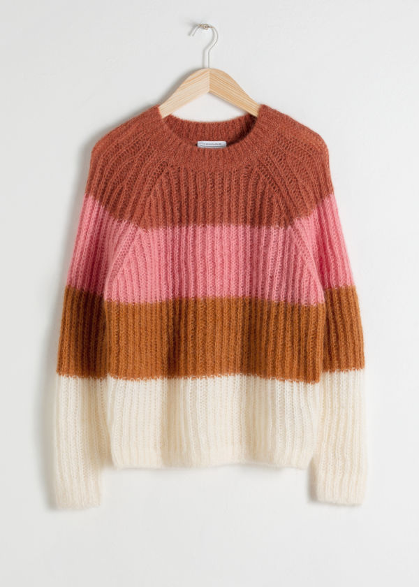 Pastel Striped Wool Blend Sweater