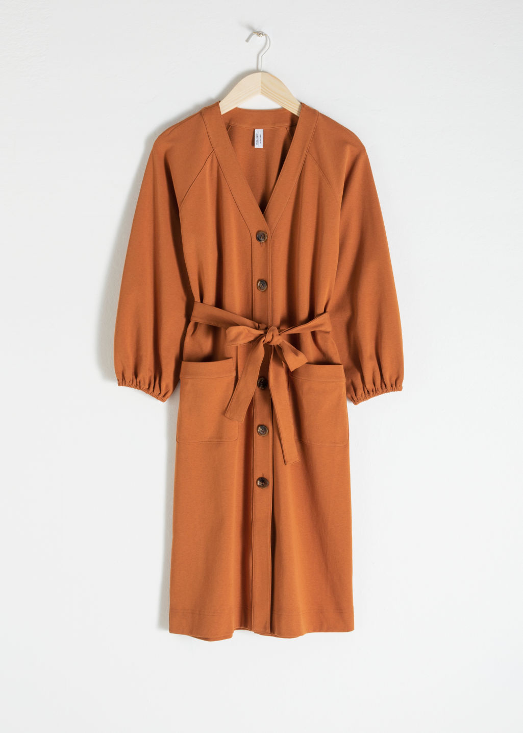 Front image of Stories belted cotton midi dress in orange