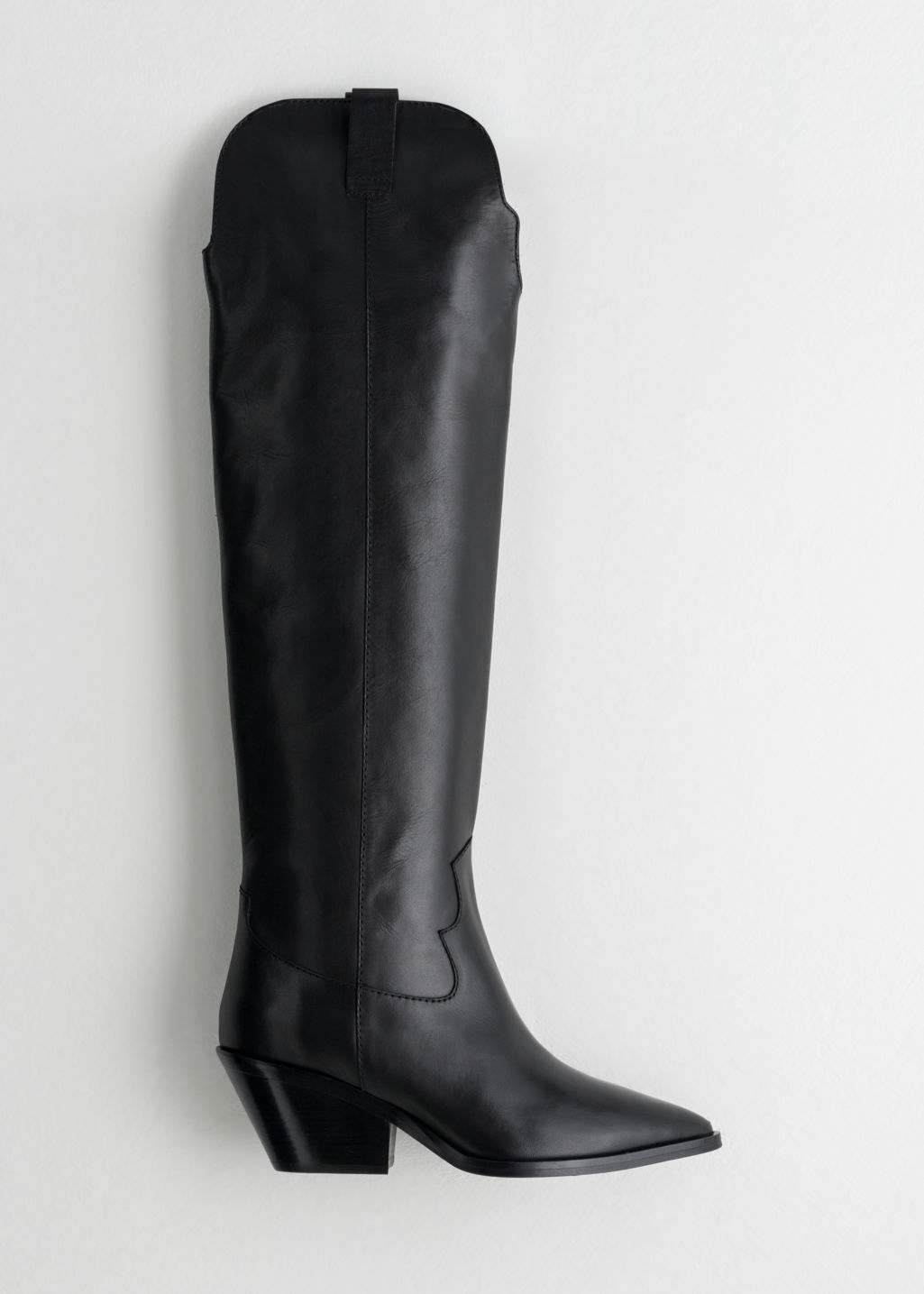 Back image of Stories knee high cowboy boots in black