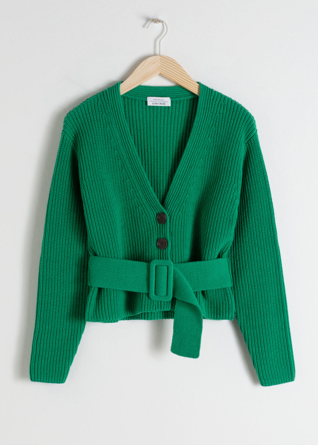 Front image of Stories belted v-neck cotton cardigan in green