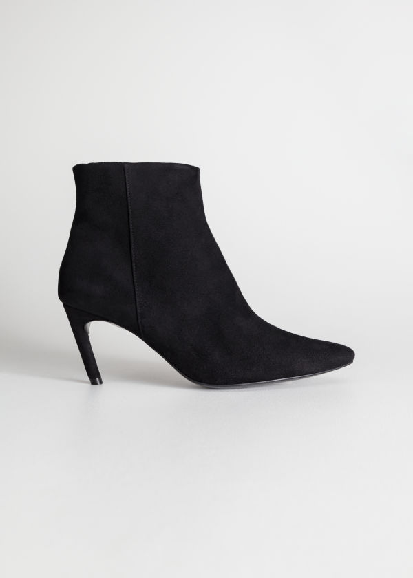 Front image of Stories curve stiletto ankle boots in black