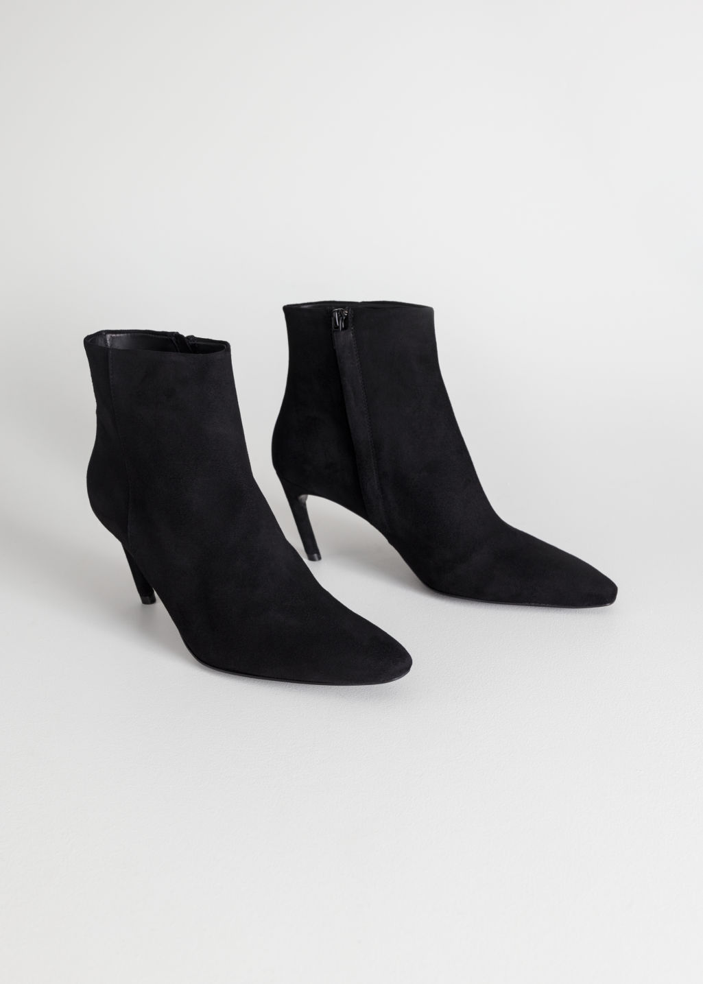 Back image of Stories curve stiletto ankle boots in black