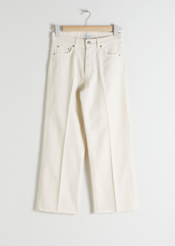 Front image of Stories straight mid rise jeans in white