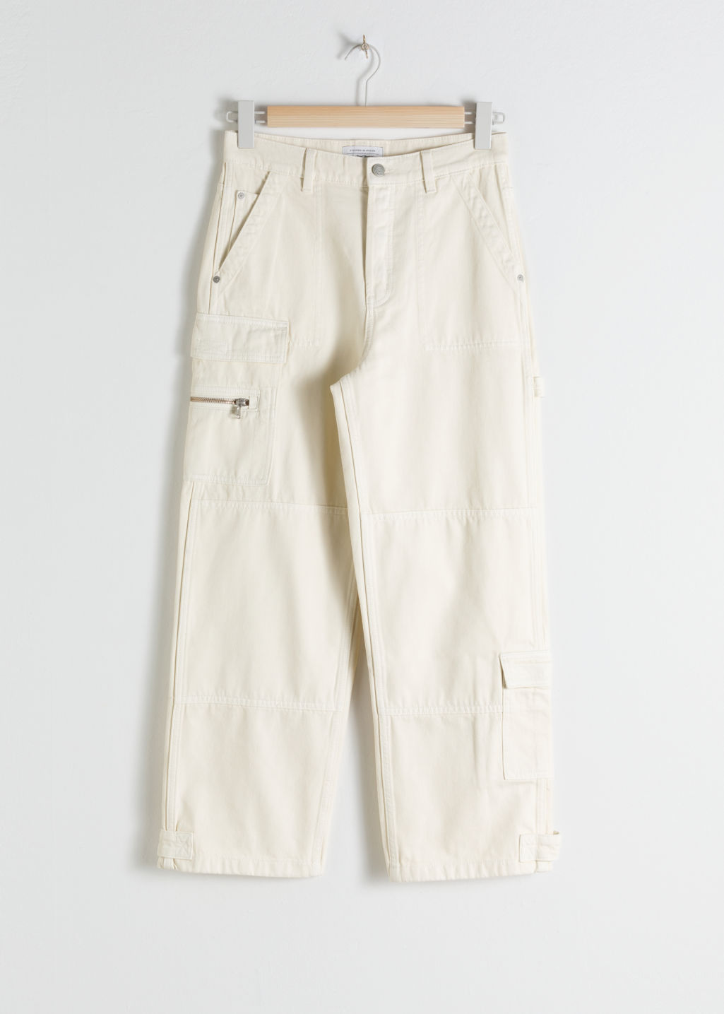 Front image of Stories mid rise utility workwear jeans in white