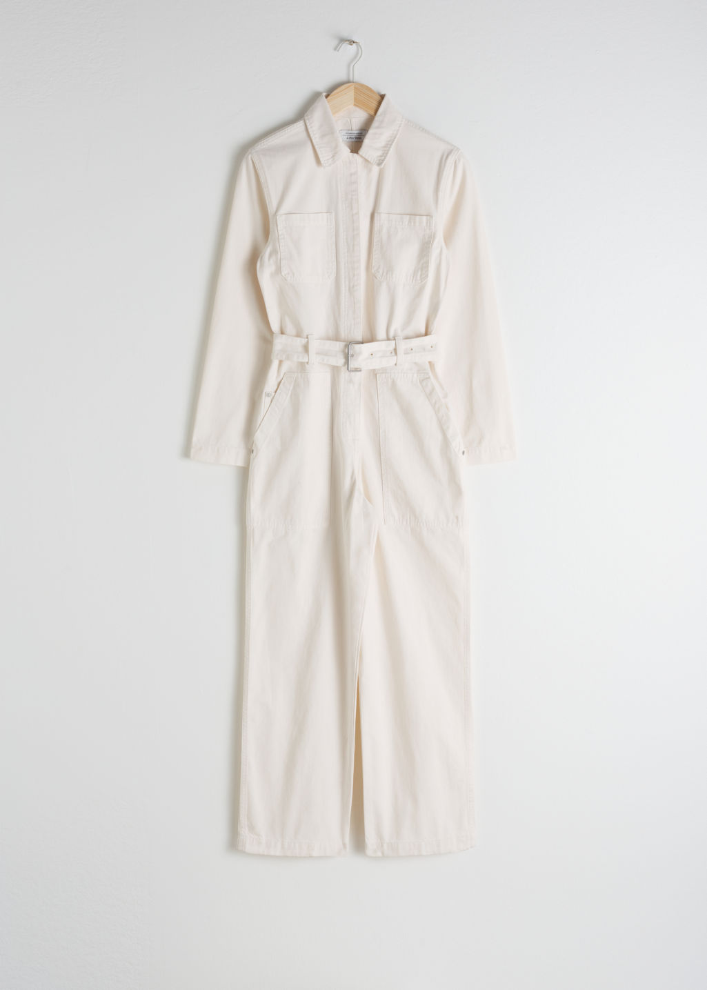 StillLife Front Image of Stories Belted Workwear Boilersuit in White