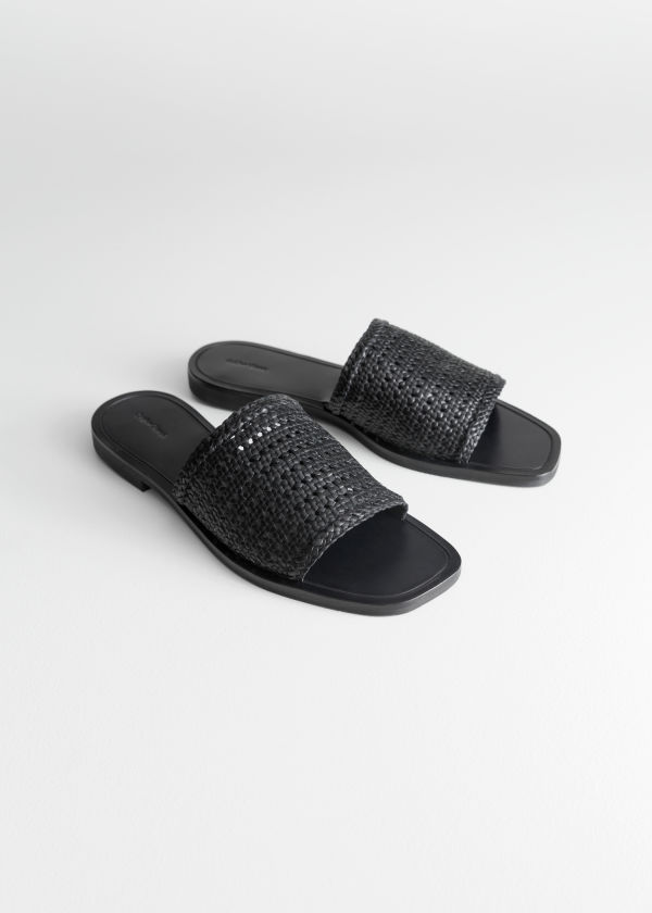 Front image of Stories square toe woven sandals in black