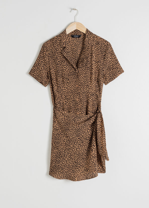 Side Tie Leopard Mini Dress