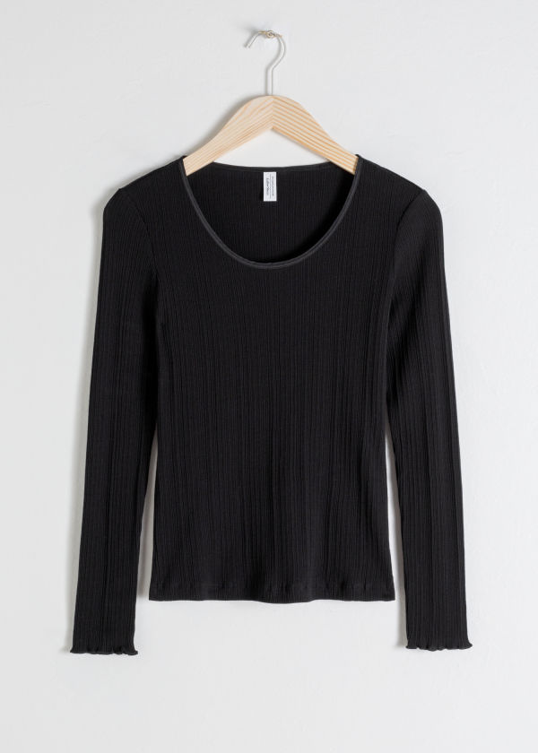 Front image of Stories scoop neck cotton top in black
