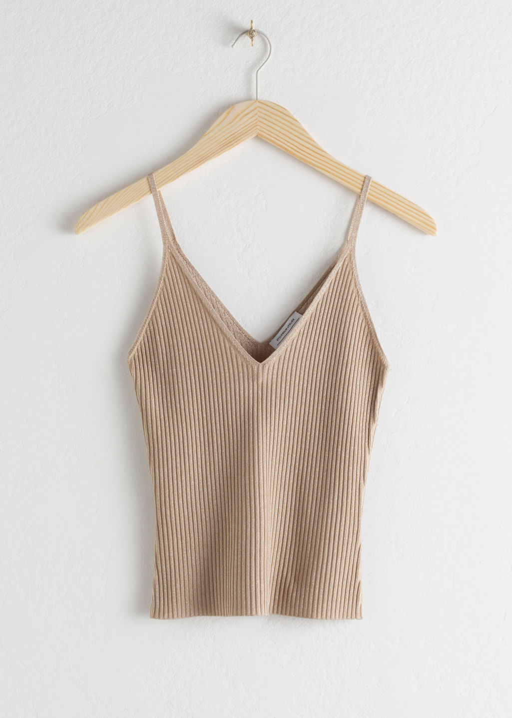 Front image of Stories v-cut rib knit tank  in beige