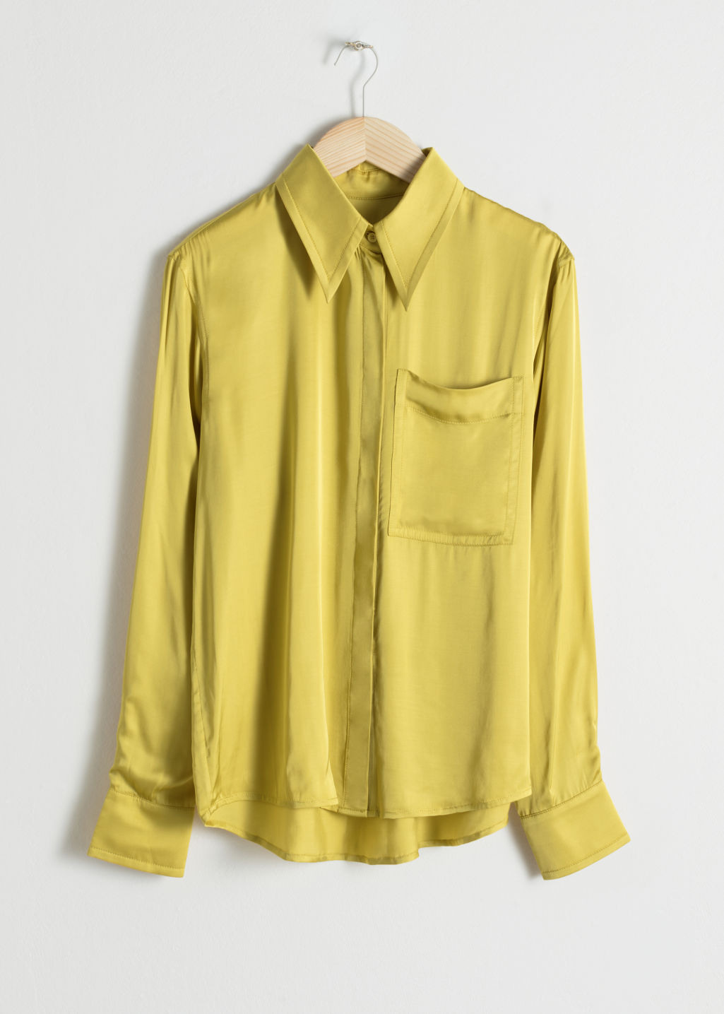 StillLife Front Image of Stories Tailored Button Up Shirt in Yellow