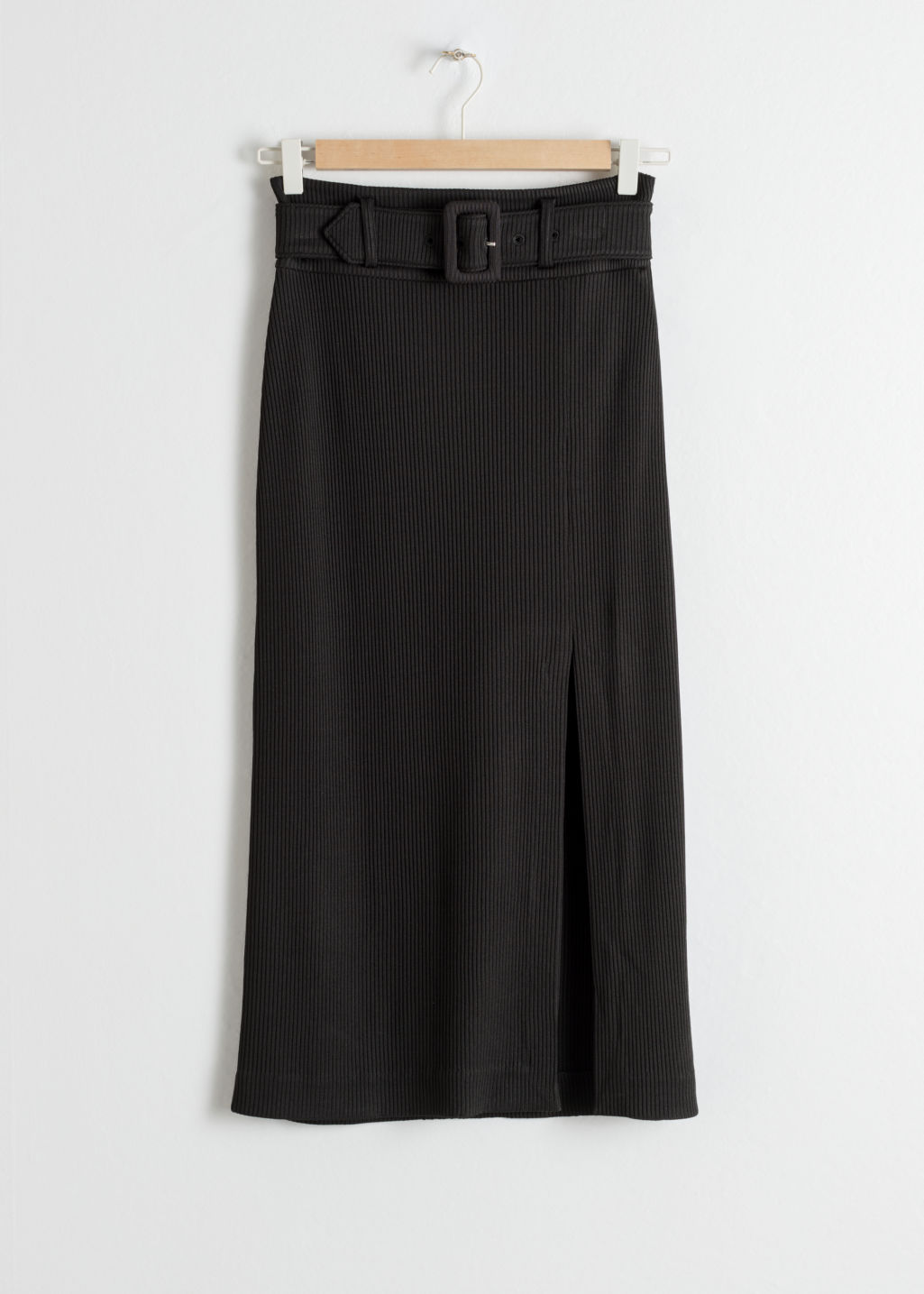 Front image of Stories betled ribbed midi skirt in black