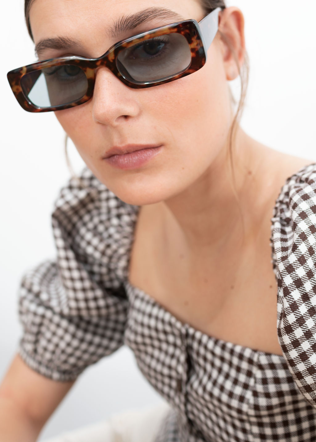 Front image of Stories rectangular frame sunglasses in beige