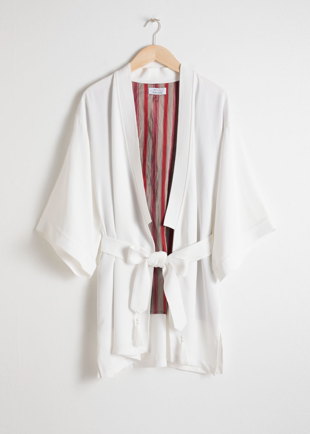 ad4b04d9a Embroidered Belted Kimono Jacket - White - Jackets - & Other Stories