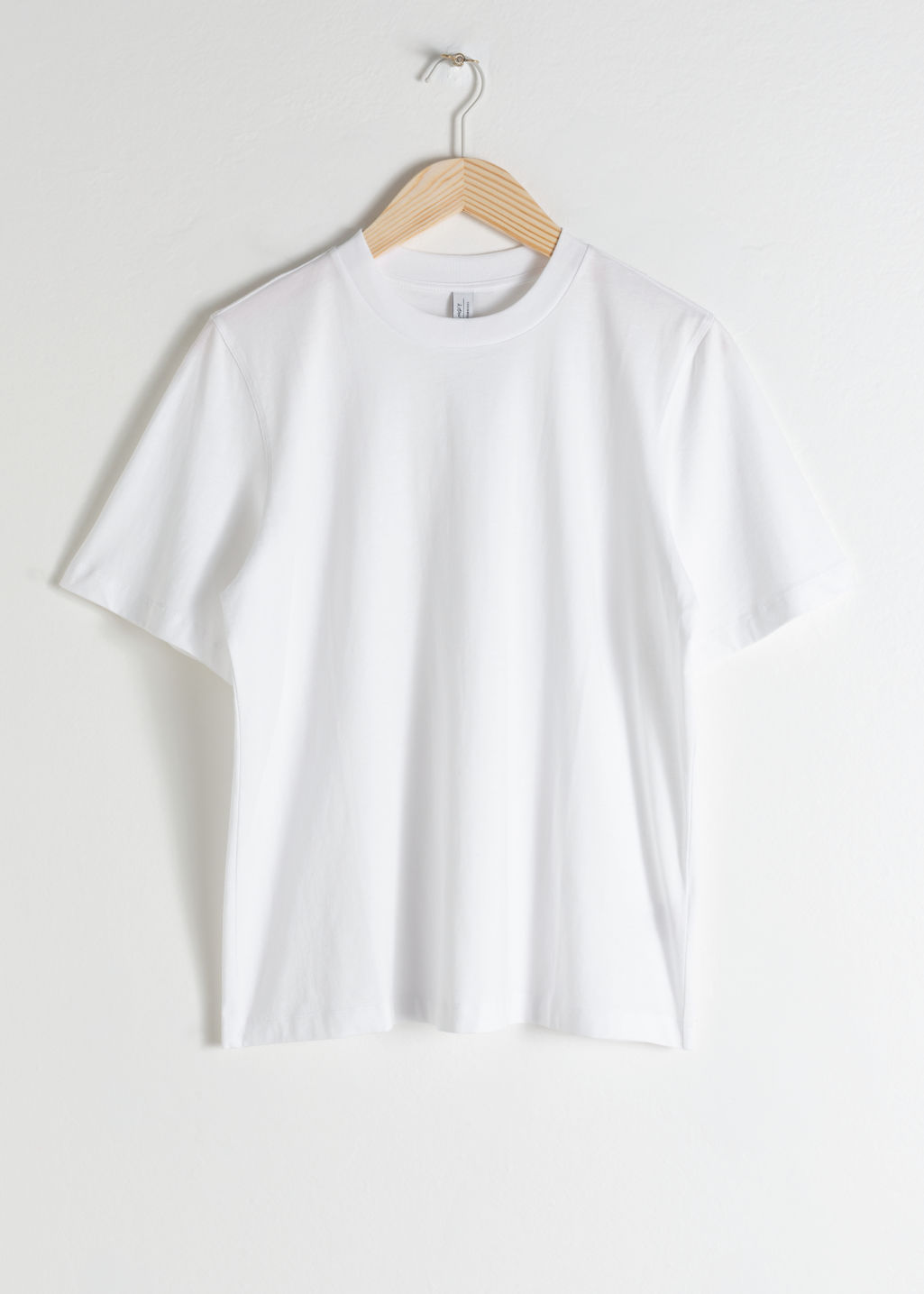Front image of Stories boxy organic cotton tee in white