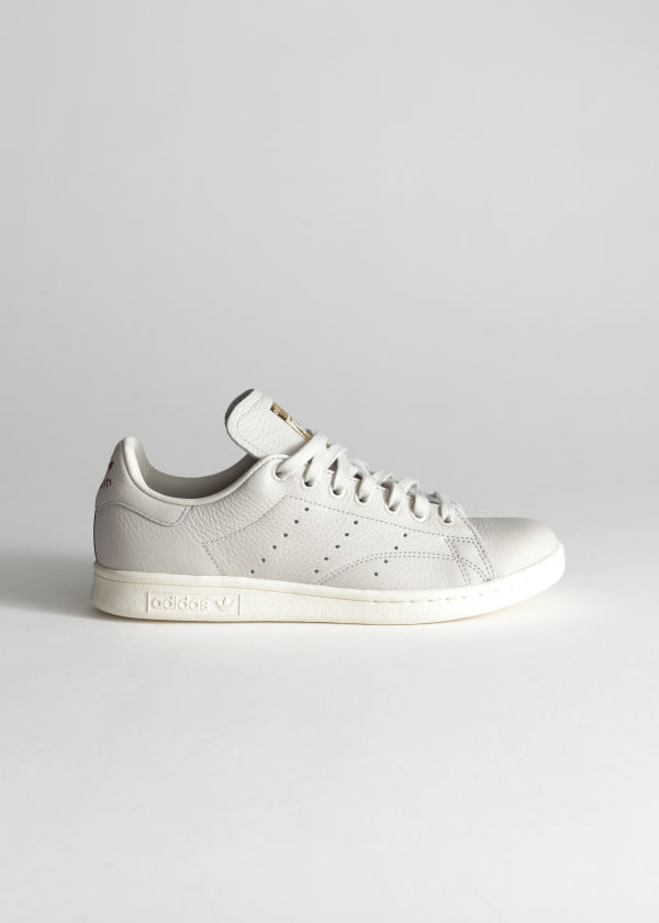 Front image of Stories adidas stan smith in white