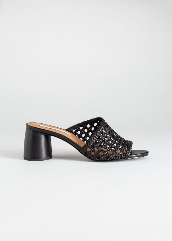 Woven Leather Heeled Sandals