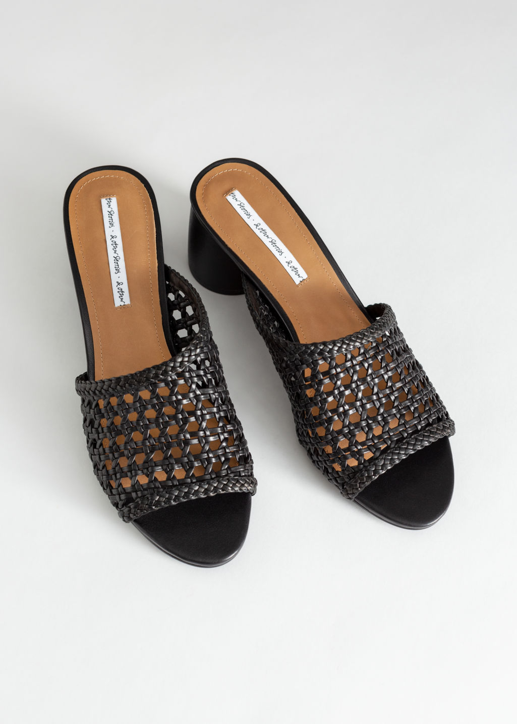 Back image of Stories woven leather heeled sandals in black