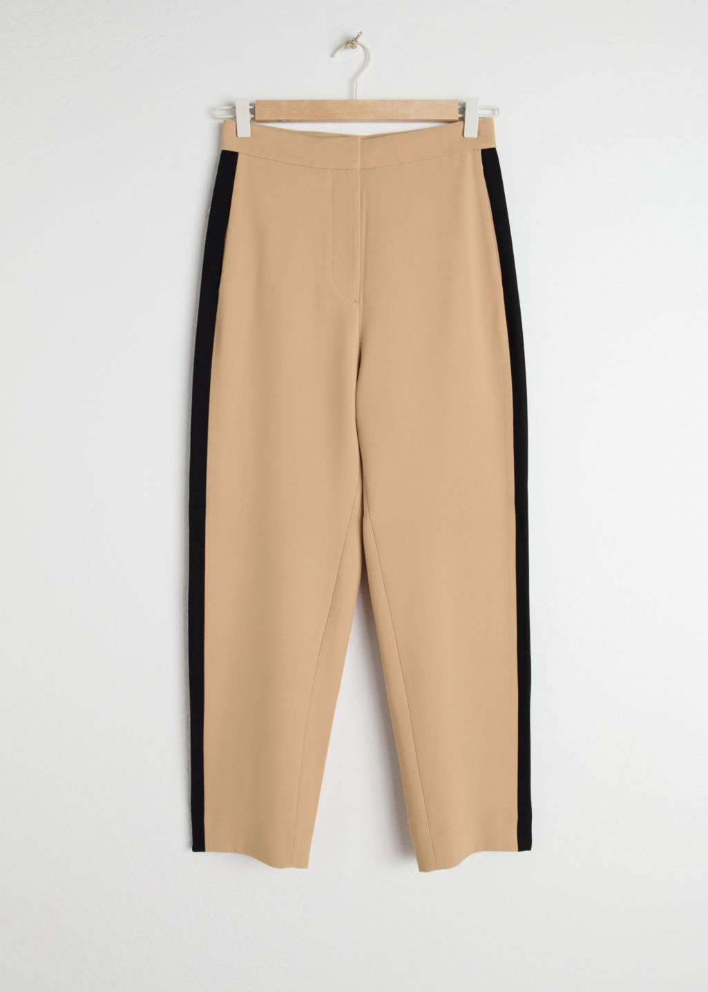 Front image of Stories racer stripe riding trousers in beige