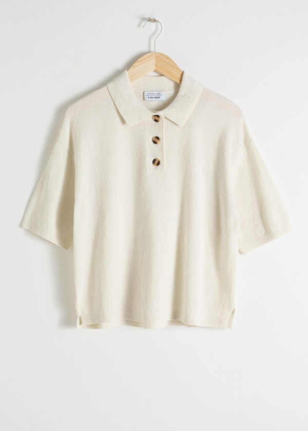 Textured Cotton Blend Polo Top