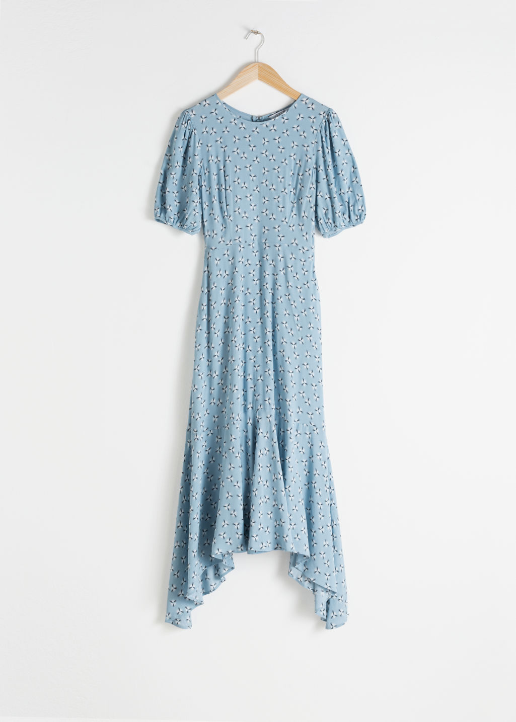 Front image of Stories cotton blend handkerchief midi dress in turquoise