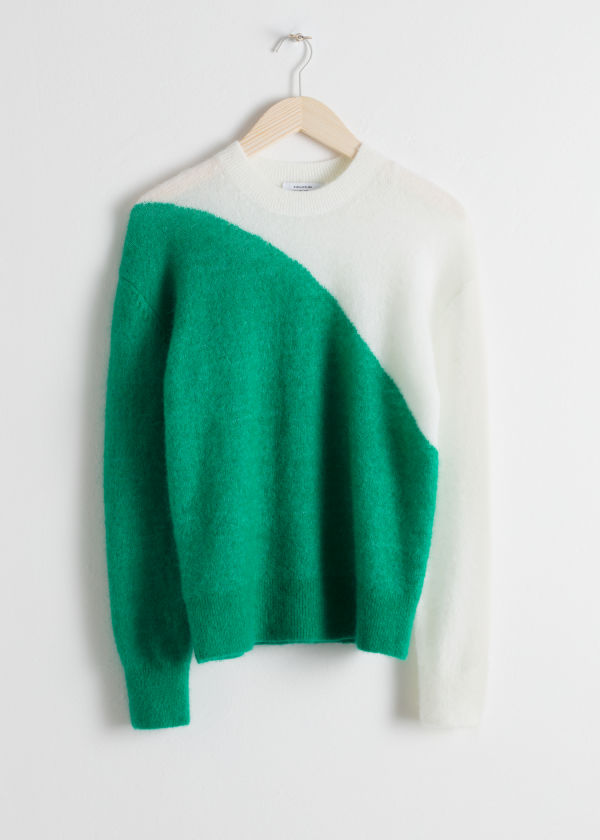 Colour Block Wool Blend Sweater