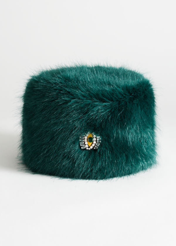 Jewel Eye Faux Fur Hat