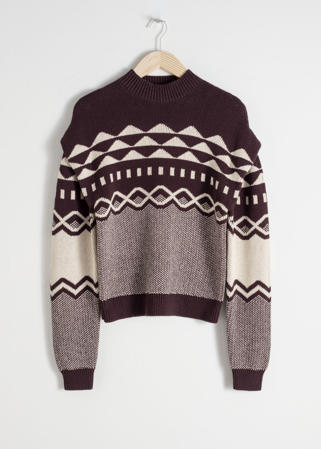 Front image of Stories graphic cotton knit sweater in brown