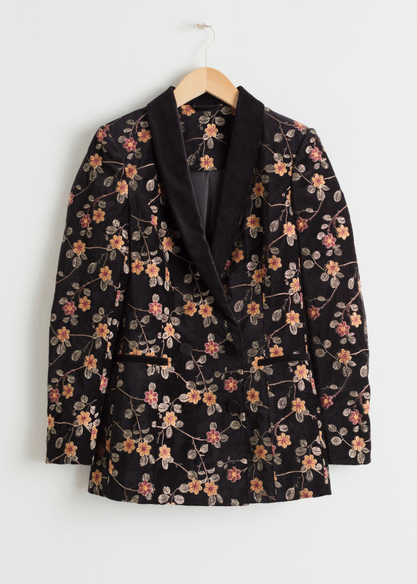 Front image of Stories floral embroidered velvet blazer in black