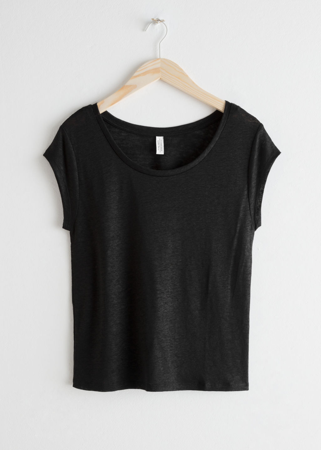 Front image of Stories linen blend t-shirt in black