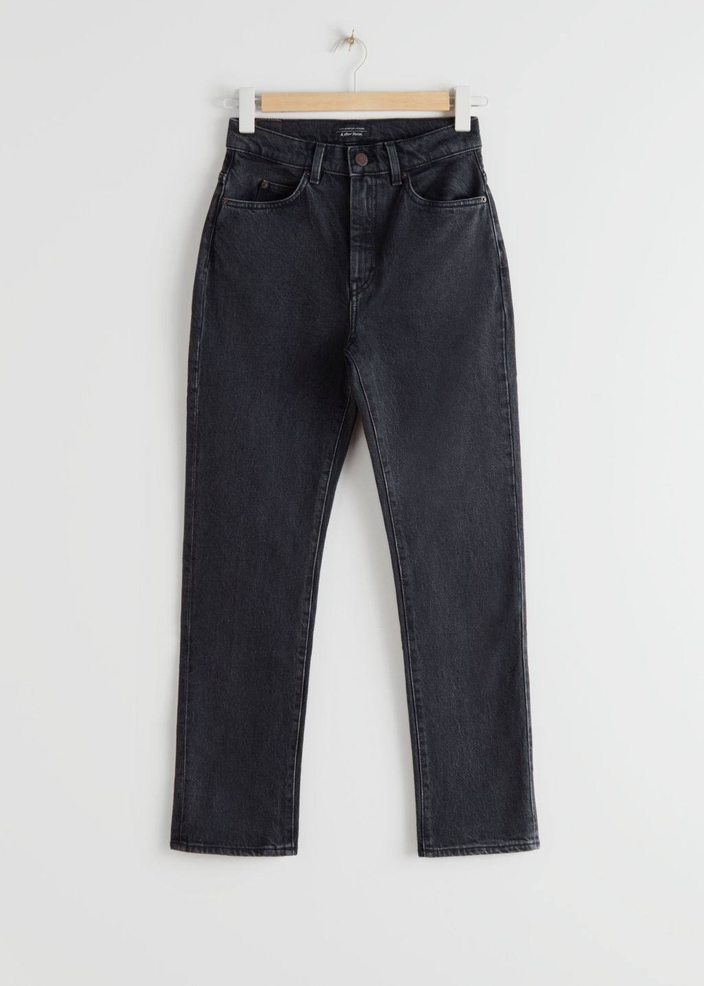 Front image of Stories straight high rise jeans in black