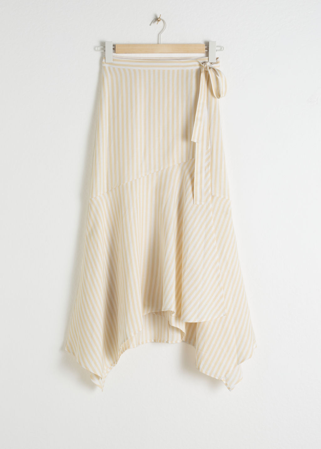 Front image of Stories cotton blend handkerchief midi skirt in beige