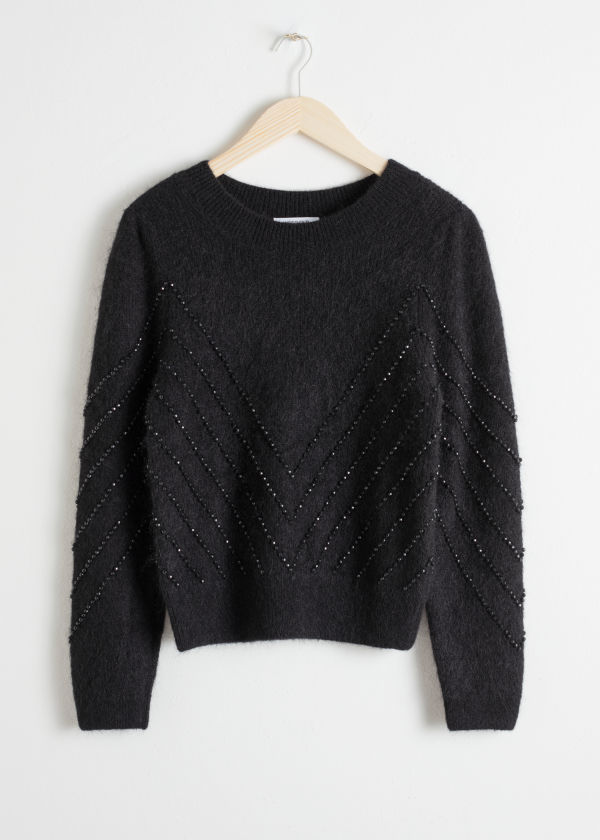 Beaded Cropped Sweater