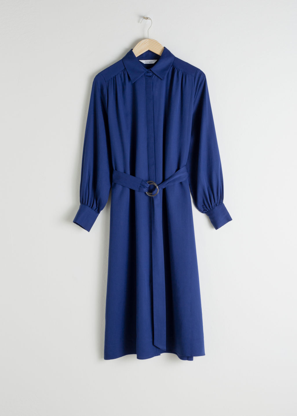 Front image of Stories belted lyocell midi dress in blue
