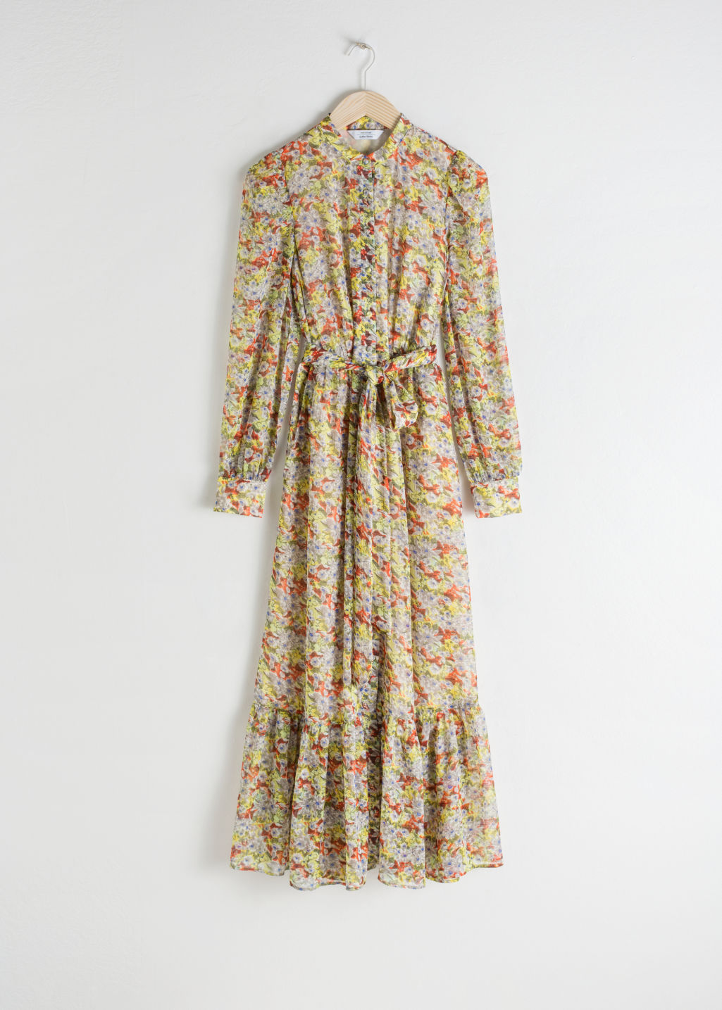 Front image of Stories floral ruffled maxi dress in yellow