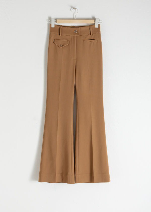 Front image of Stories high waisted flared trousers in beige