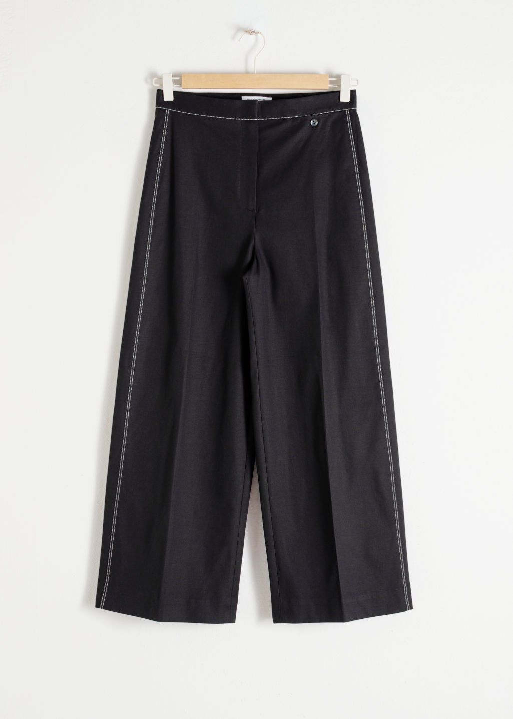 Front image of Stories high waisted workwear trousers in black