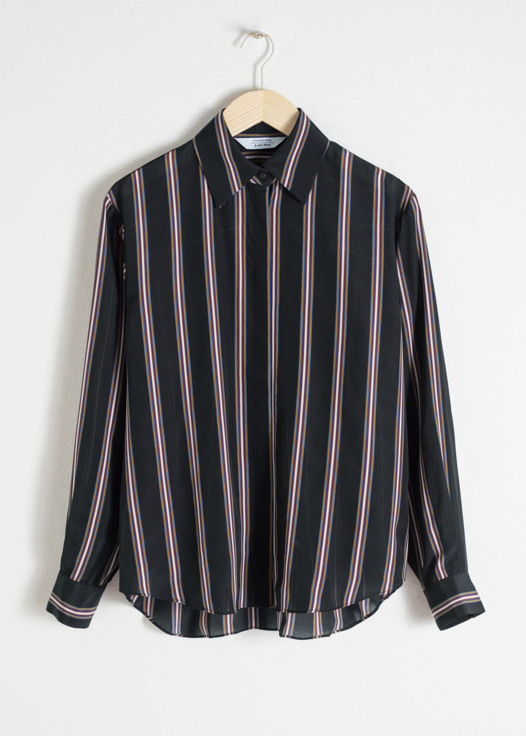 Front image of Stories silk stripe lounge shirt in black