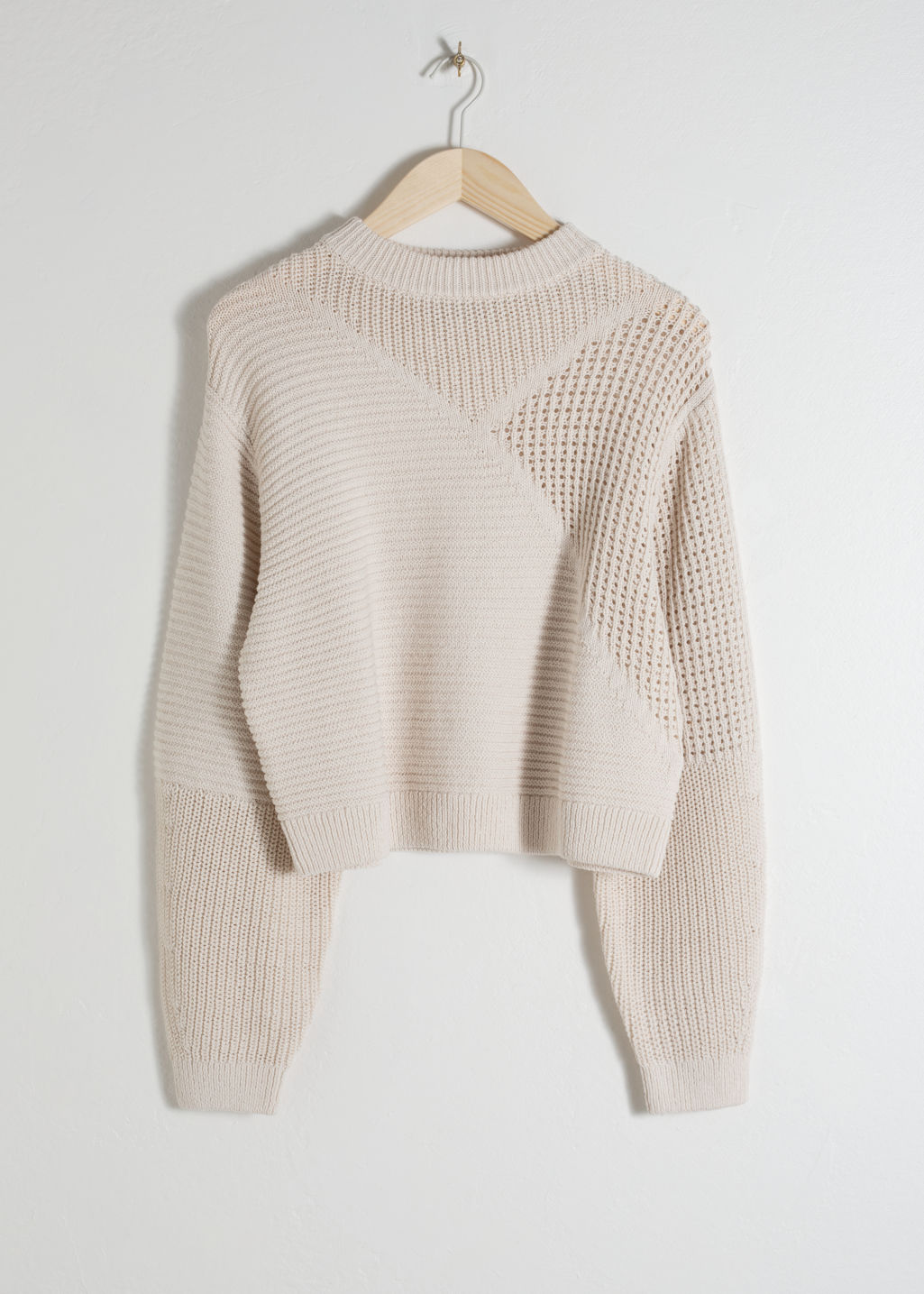 Front image of Stories mixed texture cotton sweater in beige