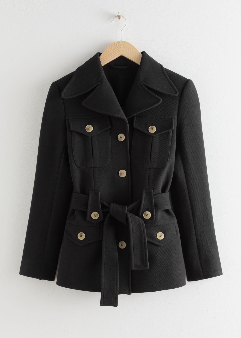 Front image of Stories structured belted workwear jacket in black