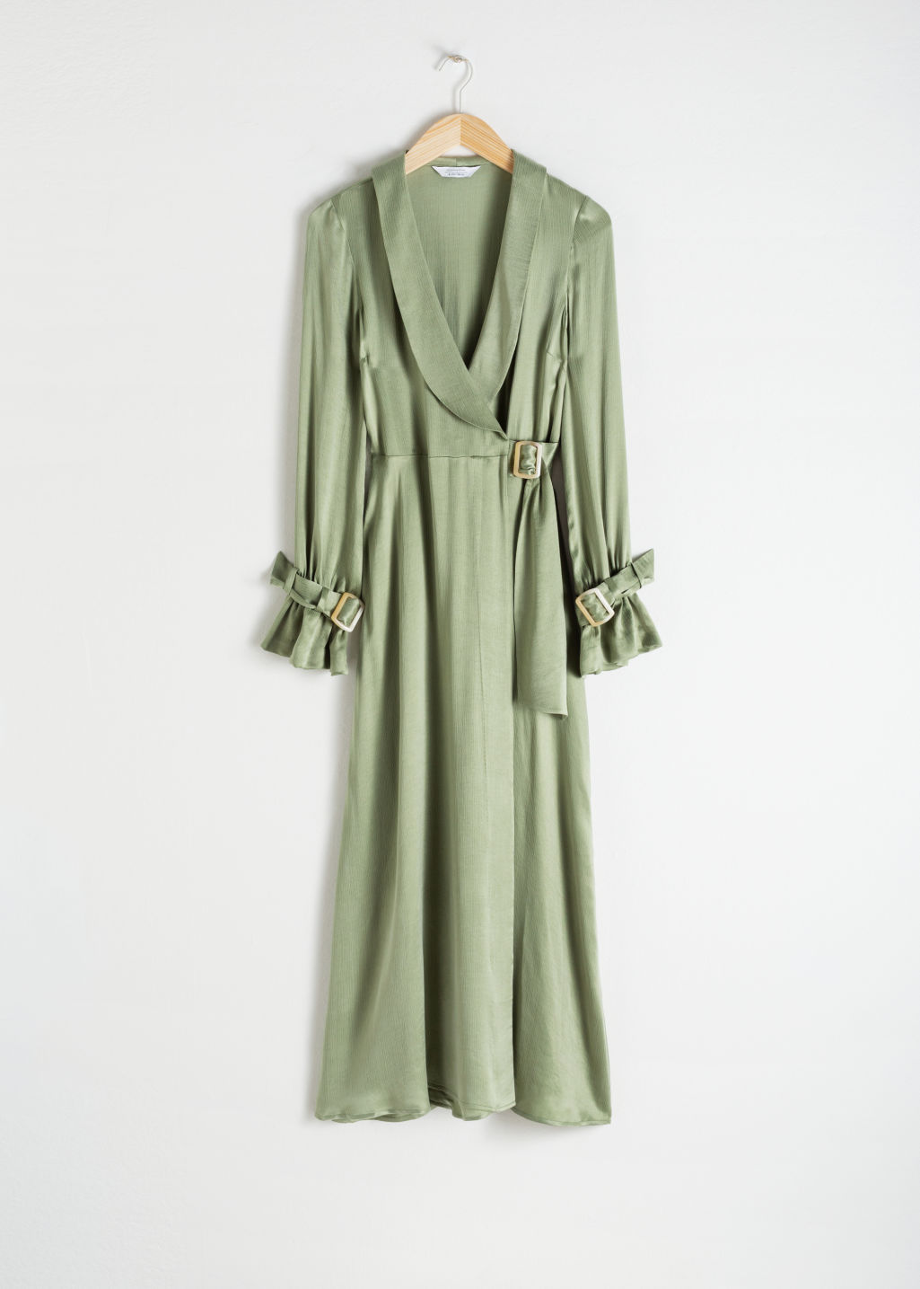 Front image of Stories belted wrap maxi dress in green