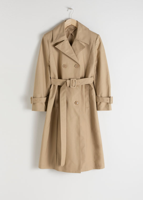 Front image of Stories belted a-line trenchcoat in beige