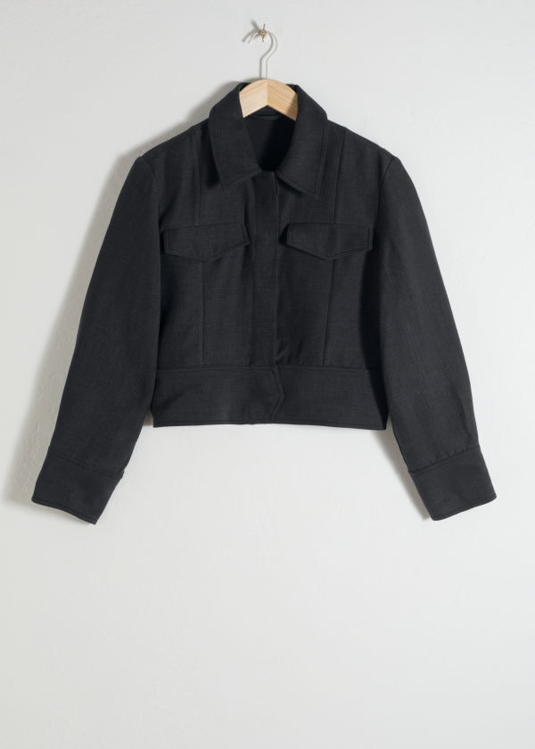 Front image of Stories linen blend cropped workwear jacket in black