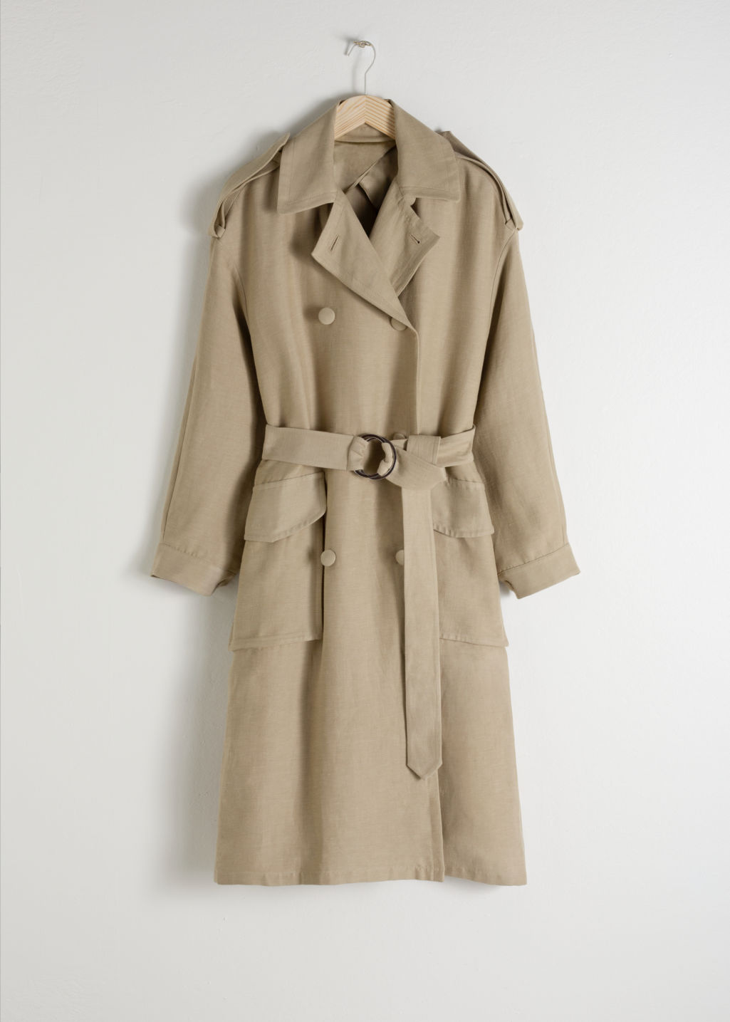 Front image of Stories belted linen blend trench coat in beige