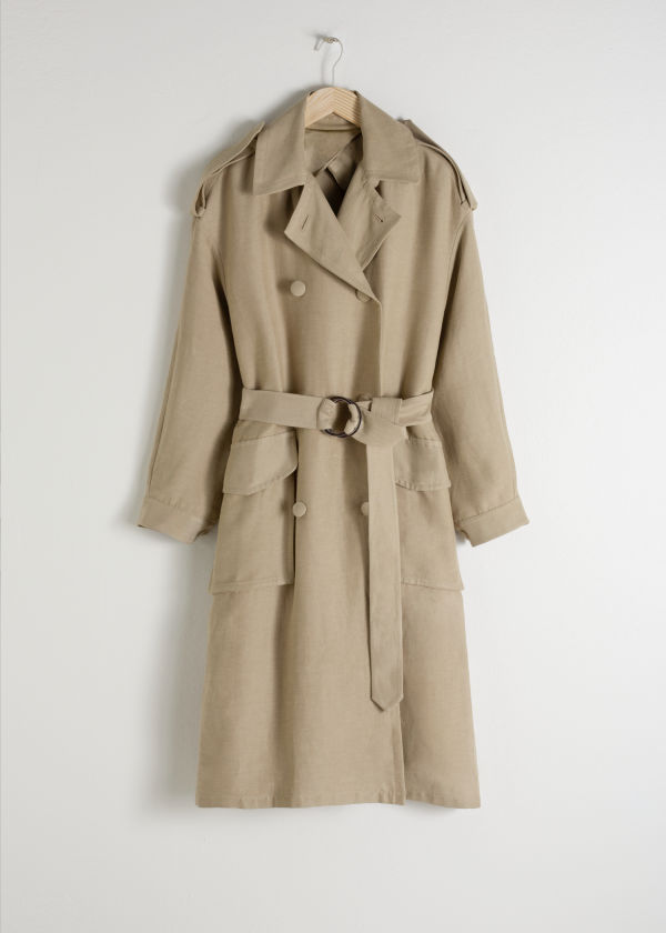 Belted Linen Blend Trench Coat